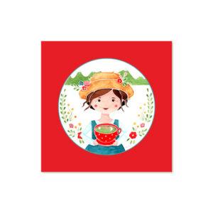 Židana marela - Ilustracija PEHTA (rdeče ozadje, 3d okvir)