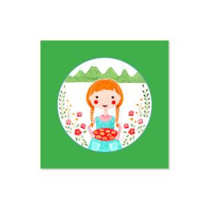 Židana marela - Ilustracija MOJCA (zeleno ozadje, 3d okvir)