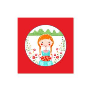 Židana marela - Ilustracija MOJCA (rdeče ozadje, 3d okvir)