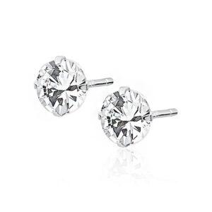 LuLu Diamonds - Srebrni uhani SOLITAIRE 6 mm iz 925 srebra