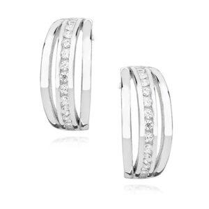 LuLu Diamonds - Diamantni uhani HALF HOOP iz 925 srebra