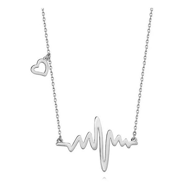 LuLu Diamonds - Srebrna ogrlica HEARTBEAT