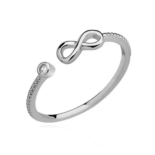 LuLu Diamonds - Odprti srebrni prstan INFINITY